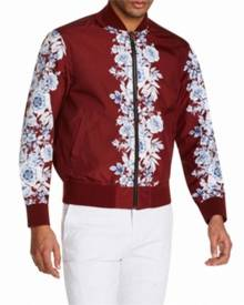 Tallia Mens Red Small S Floral Bomber Full Zip Reversible Jacket
