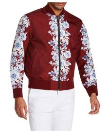 Tallia Mens Red Size Medium M Floral Bomber Full Zip Reversible Jacket