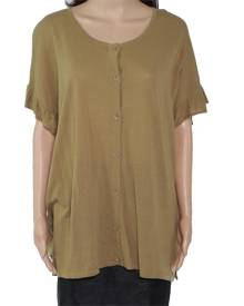 Masai Women's Top Olive Green Size Large L Knit Button Front Ruffle