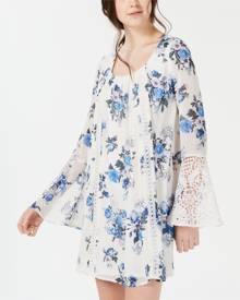 Sequin Hearts Women's Dress Blue Size Small S Shift Crochet Bell Sleeve