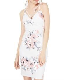 Sequin Hearts Dress White Size 1 Junior Sheath Floral Criss Cross Back