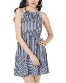 Sequin Hearts Women's Dress Blue Size Large L A-Line Stripe Flounce