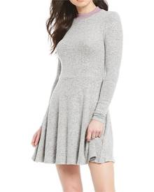 Sequin Hearts Gray Size Large L Junior Sweater Dress Fit & Flare