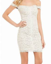 Sequin Hearts NEW White 11 Junior Floral Lace Off Shoulder Sheath Dress