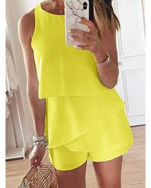 Azura Exchange Yellow O Neck Ruffle Romper