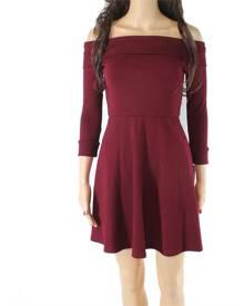 Sequin Hearts Merlot Red Size Small S Junior A-Line Dress Off Shoulder