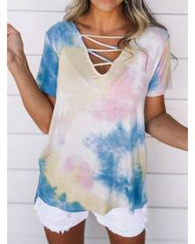 Azura Exchange Yellow Cage Detail Tye Dye Top