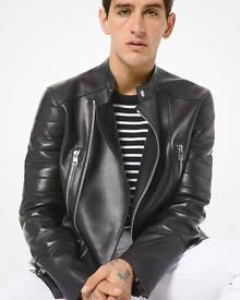 Michael Kors Mens MK Leather Moto Jacket - Black - Michael Kors