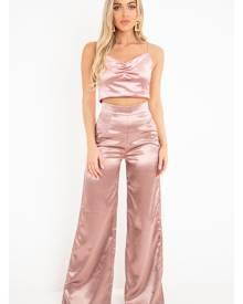 Rebellious Fashion Womens Top - Rose Shiny Velvet Cami Crop Top - Cali