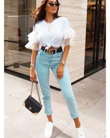 Rebellious Fashion Womens Jeans - Bleach Denim Mom Style Jeans - Chelsi