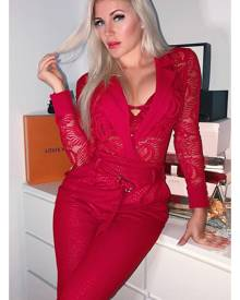 Rebellious Fashion Bodysuit - Red Sheer Lace Plunge Long Sleeve Bodysuit - Janica