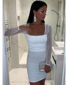 Rebellious Fashion Dress - White Ruched Mesh Bodycon Mini Dress - Elysa