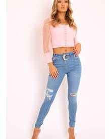 Rebellious Fashion Womens Jeans - Blue Denim Ripped Buckle Belted Skinny Jeans - Suzie