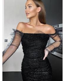 Rebellious Fashion Dress - Black Sparkle Mesh Ruched Bodycon Dress - Idell