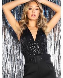 Rebellious Fashion Bodysuit - Black Sequin Embellished Extreme Plunge Bodysuit - Yamila