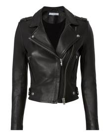 IRO Dylan Cropped Leather Moto Jacket, Black 36