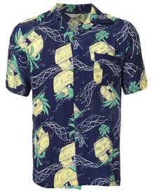 Fake Alpha Vintage 1950s John Meigs Hawaiian village print shirt - Blue