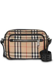 Burberry Vintage Check and Leather Crossbody Bag - Neutrals