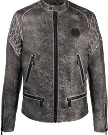 Philipp Plein embossed skull moto jacket - Black