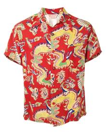 Fake Alpha Vintage 1950s dragon print short-sleeved shirt - Red