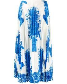 Valentino ceramic print pleated midi skirt - Blue