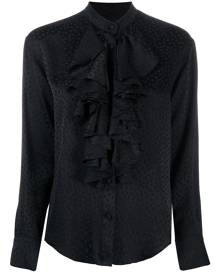 AMI Paris polka dot ruffle shirt - Black