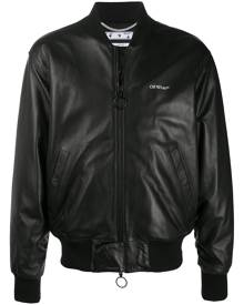 Off-White leather Agreement bomber jacket - Black