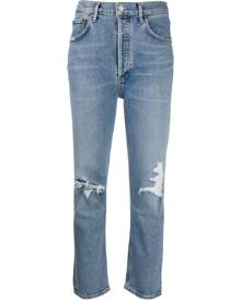 AGOLDE ripped high-rise cropped jeans - Blue