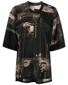 Y's graphic-print oversized T-shirt - Black