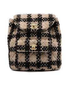 Chanel Pre-Owned 1992 CC tweed backpack - Neutrals
