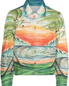 Casablanca Huakai print denim jacket - Orange