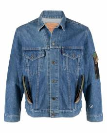 Don't Worry camouflage-print panelled denim jacket - Blue