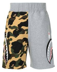 A BATHING APE® shark camouflage-print cotton track shorts - Brown