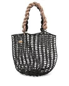 0711 Taia open-woven tote bag - Black