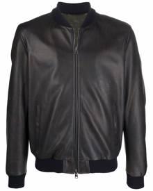 ETRO zipped leather bomber jacket - Blue