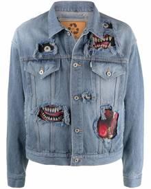 Doublet graphic-print button-up denim jacket - Blue