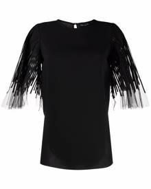 Oscar de la Renta tulle-sleeve silk blouse - Black
