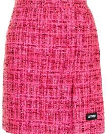 pushBUTTON tweed straight skirt - Pink