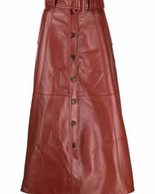 Materiel belted-waist midi skirt - Red