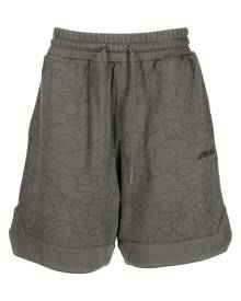 A BATHING APE® Camo Washed cotton track shorts - Green