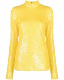 MSGM all-over sequin long-sleeve top - Yellow