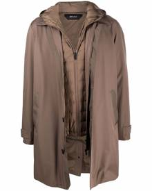 Z Zegna layered hooded coat - Brown