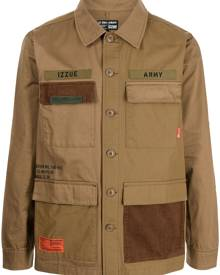 izzue military button down shirt - Brown