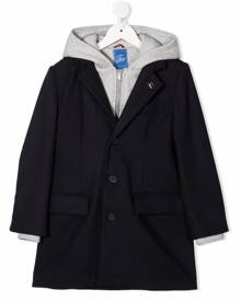Fay Kids layered hooded coat - Black