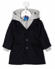 Fay Kids layered hooded coat - Blue
