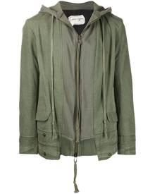 Greg Lauren zipped hooded jacket - Green