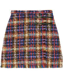Gucci checked tweed skirt - Blue