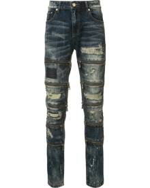 God's Masterful Children - zipped ripped skinny jeans - men - Polyester/Cotton - 42, 40, 30 - Blue