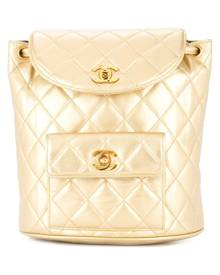 Chanel Pre-Owned - 1991-1994 CHANEL Quilted CC Chain Backpack - women - Leather - One Size - Metallic