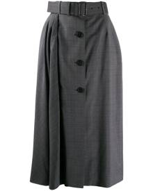 Prada belted check midi skirt - Grey